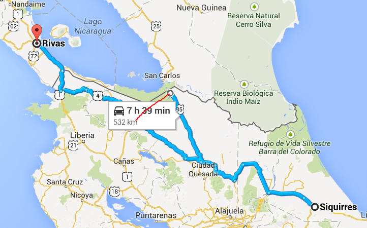 Red line shows the 4 hour shortcut from San Carlos border checkpoint to Hwy 4.