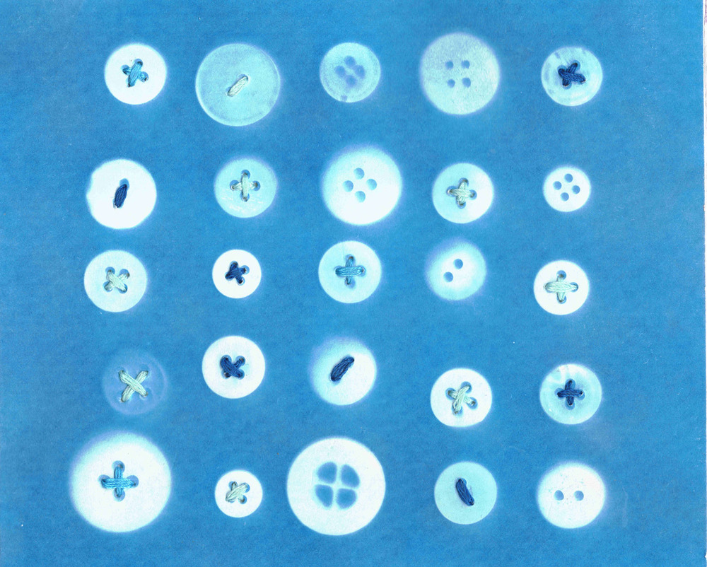 Buttons, 2013 Cyanotype and Thread on Paper