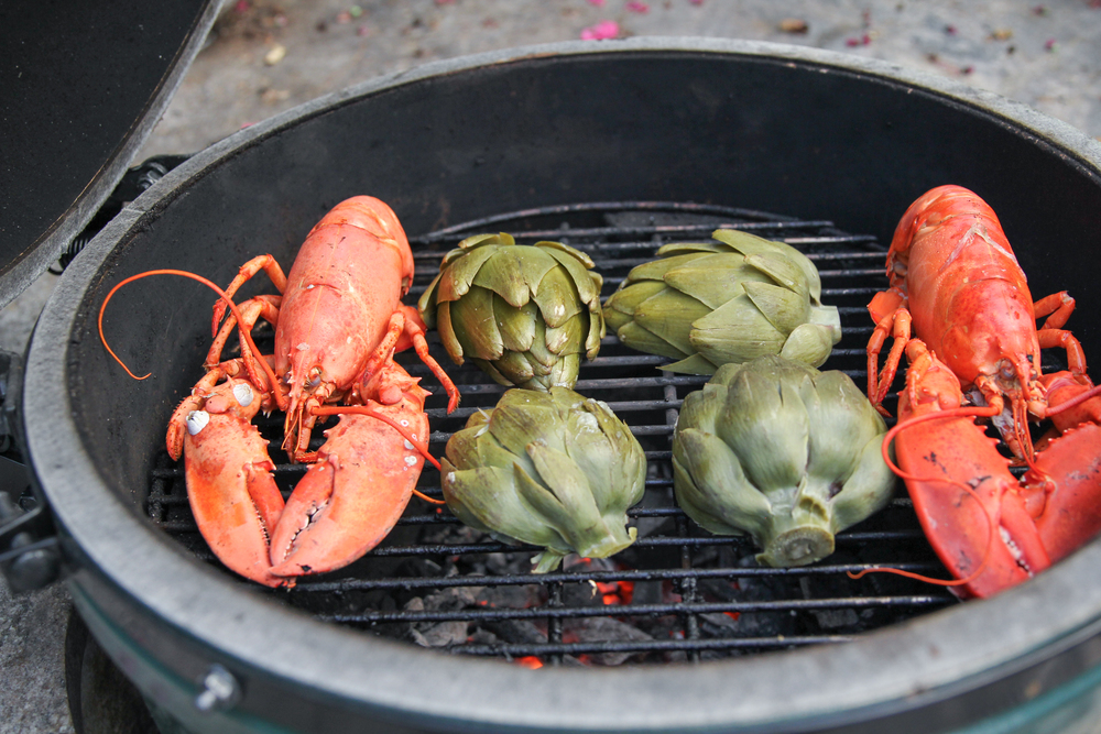 As an experiment, my husband took a couple of lobsters and artichokes out of the boil a little early and put them on our Green Egg® to add a little smoky taste.