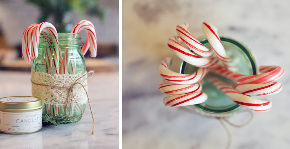 I added lace and twine to mason jars to use as vases for my grandmother's 90 birthday celebration back in February. I found myself using them year round for flowers or pens and now for candy canes.