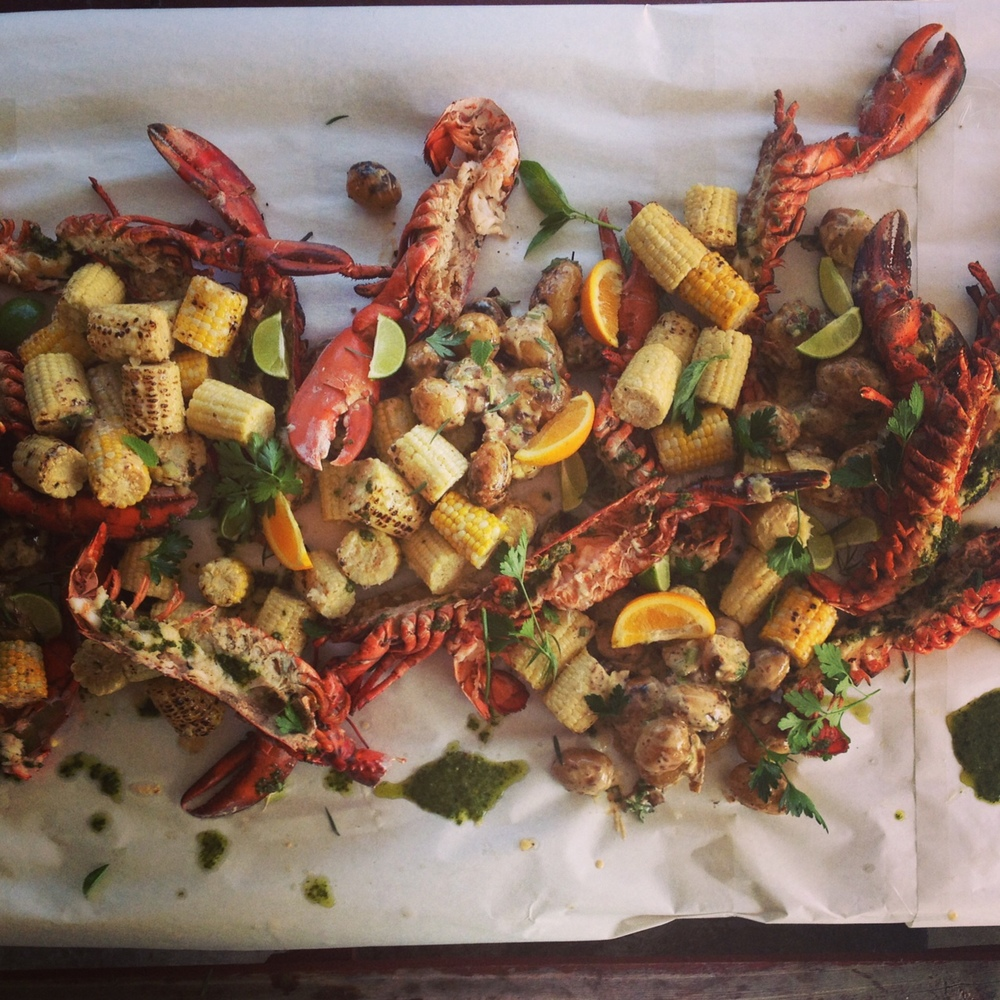 Finished Lobster with Corn & Potatoes
