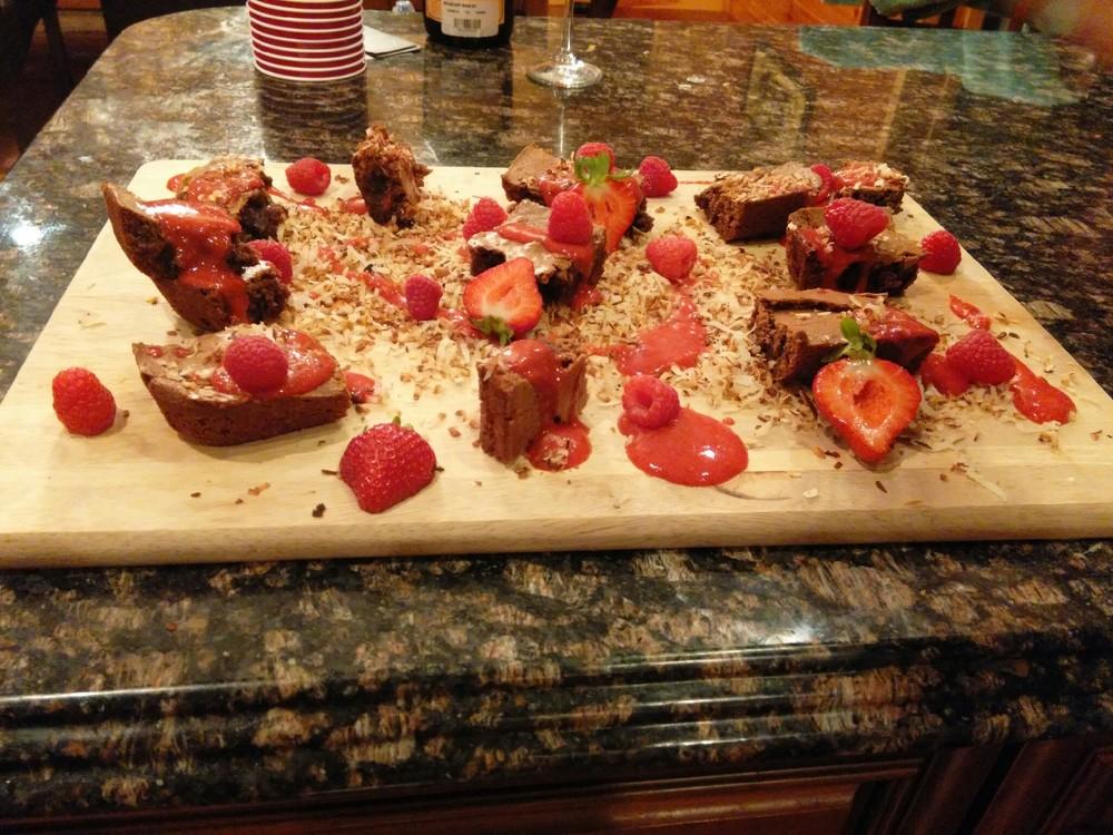 Fresh-Baked Brownies & Honey Sauce