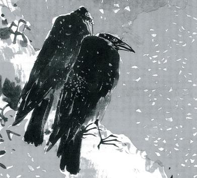 Yosa Busob a-black-hawk-and-two-crows..jpg