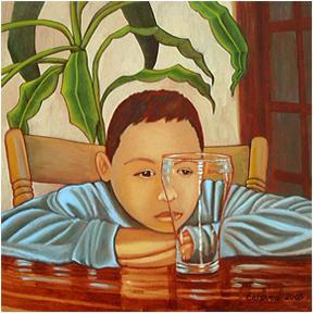 Boy With Glass by Sandra Maria Estevez