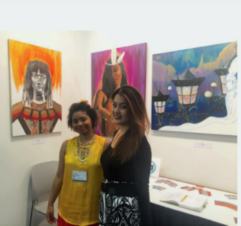 Me with fellow artist Amy Ishida who was also displaying work at the Art Expo. Her skirt is designed with her art!