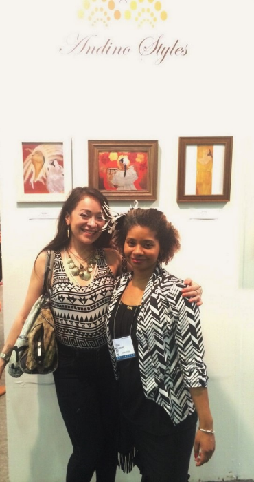 Me with fellow artist Gia Gutierrez who bought one of my prints!