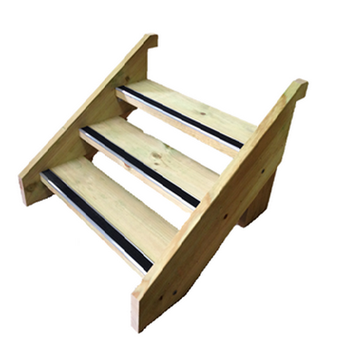 Complete DIY Stair Kit - LOSP Pine     Product Code:   KLPRKIT    Made using 290 x 45mm  LOSP Pine  (environmentally friendly timber)   Includes: stringers &  treads   *When over 1200mm wide includes S  awtooth Centre Support*     Measurements: Height:   330mm    Width:   900mm wide – 5400mm wide     Internal step width = 945mm, Complete external width = 1035mm     Distance out from platform 380mm