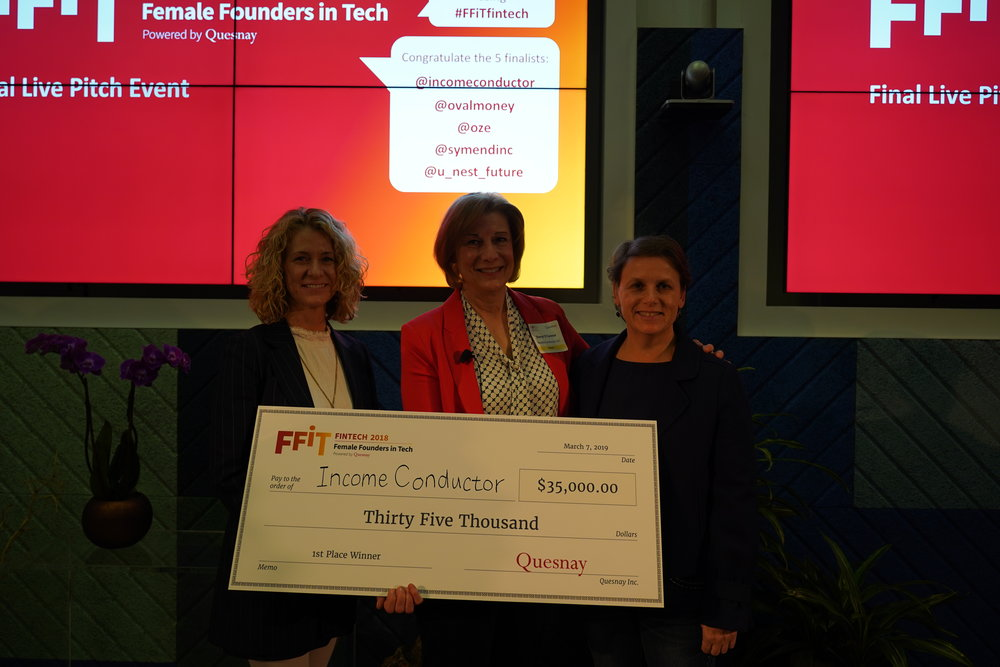 From left: Jennifer Byrne (Host/President of Quesnay), Sheryl O'Connor (1st Place Winner/CEO of Income Conductor), and Lisa Frazier (head of the Innovation Group, Wells Fargo)