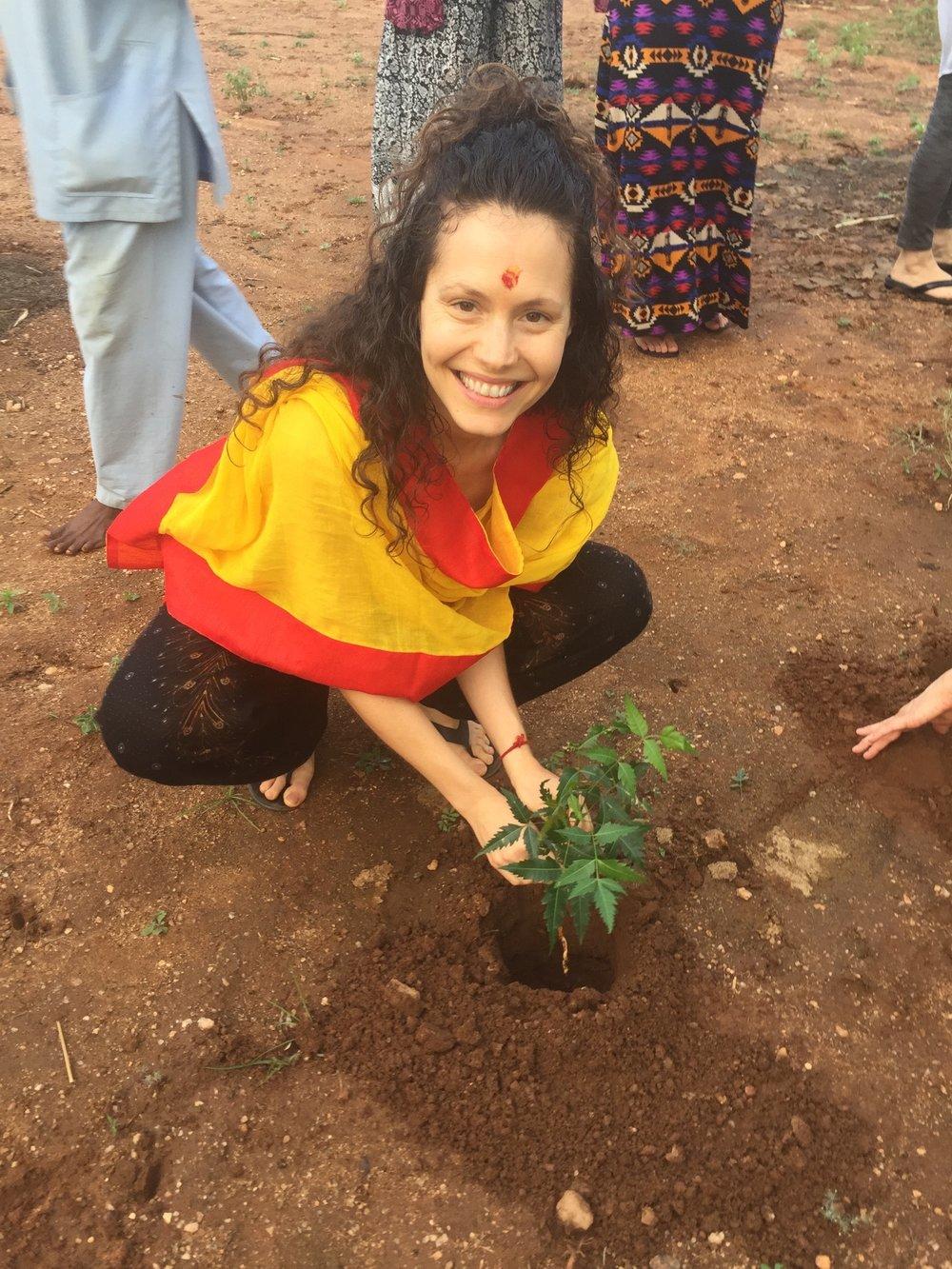 Planting neem tree at Vaidyagrama.jpg
