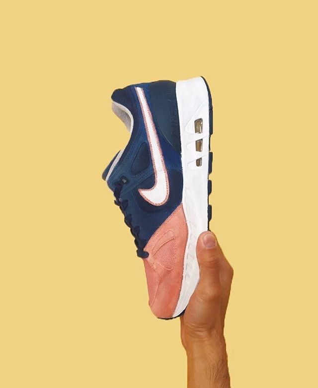 "Custom ""Pink Toe"" Air STABs that I made for crafts class at CPP. Inspired by @ronniefieg 's Salmon Toe colorway & @childishgambino 'a Pink Toes song on the insoles.  #airmaxday"