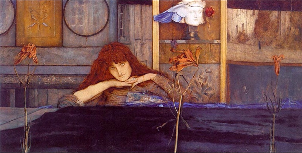 """I Lock My Door Upon Myself"", 1891, Fernand Khnopff. (Title inspired by a poem by Christina Rosetti.)"