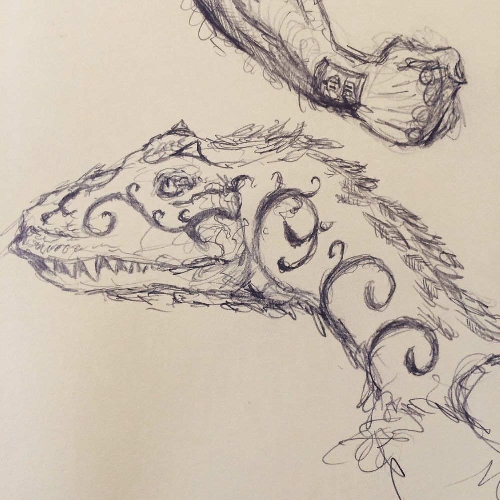 Theropod sketch. #doodling #sciart