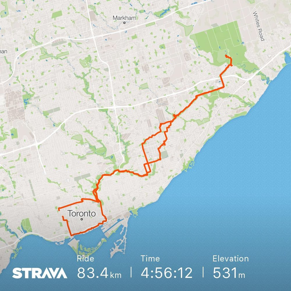Strava map of my birthday ride.