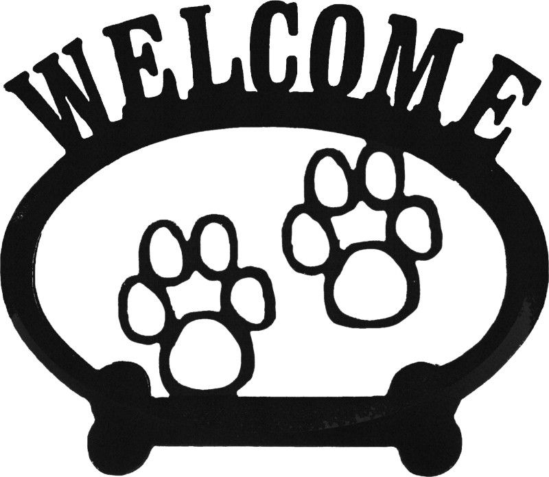 "Welcome Plaque Paw Prints  Size: 10"" x 8.5"""