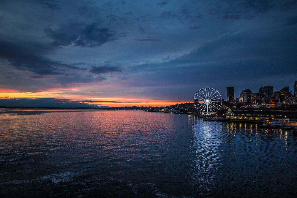 Seattle Ferris Wheel Sunset