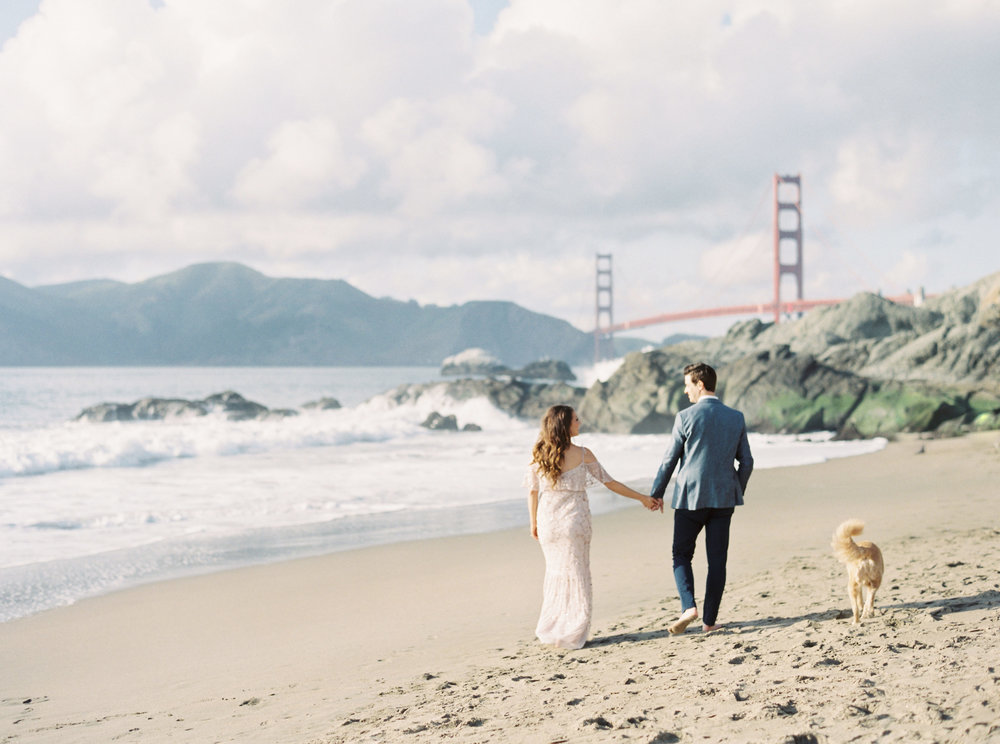 Romantic Maternity Session at Baker Beach San Francisco California