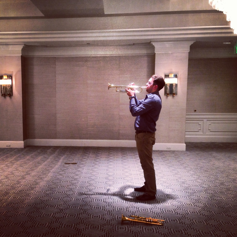 Hotel ballroom, late night trumpetfest with former student and friend, Ryan Svendsen in Los Angeles.