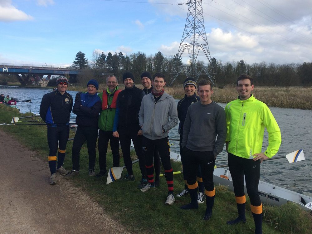 The men's novice crew just before the off, looking keen, as well they might: still leading the men's novice category, now by a minute!
