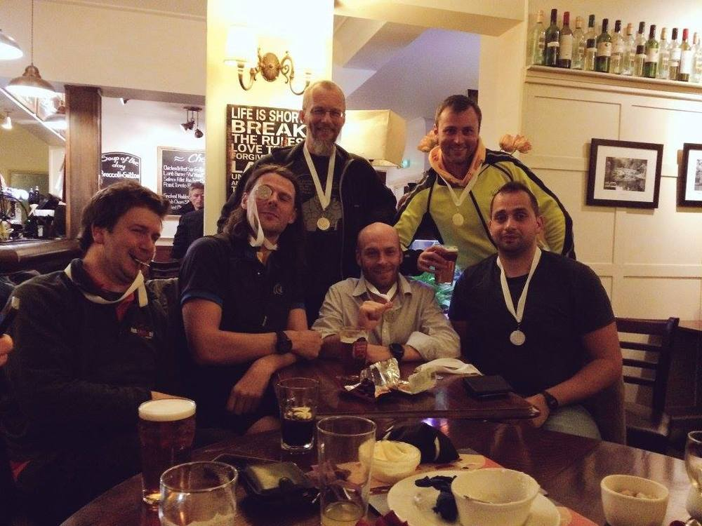 Celebrating our fine quality medals. And James got the coxing prize.