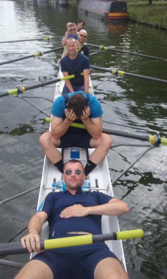 "Dan is relaxed. Steve O in despair. Chris and Brian are happy. Lewis is cool, if slightly blurred  - sorry my phone camera often goes into ""rubbish mode"". Who's the bald bloke at 2? its Paul! And Keith in the bows. Cox was new boy Eric. My headstand-in-boat whilst marshalling drew plaudits."
