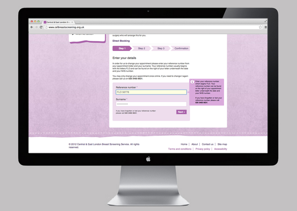 NHS Breast Screening website direct booking