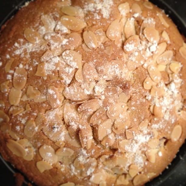 Raspberry Bakewell cake.