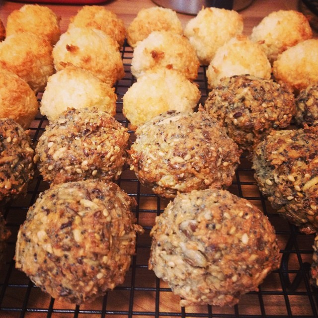 Coconut macaroons and experimental seed macaroons…