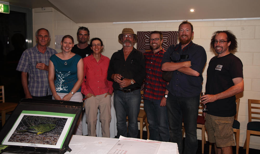 Good times in The Alice with John Young (centre) and the committee of Birdlife Central Australia