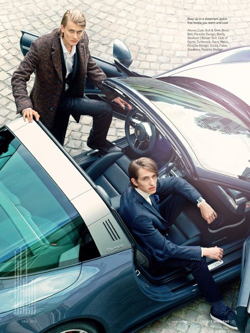 "Kennet & Pascal by Claudius Holzmann ""Porsche Design"" editorial for Dolce Vita Luxury Magazine Canada with Porsche 991 Targa 4S (2016)"