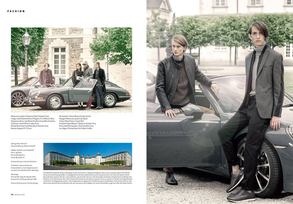 "Kennet & Pascal by Claudius Holzmann ""Porsche Design"" editorial for HIGH LIFE Magazine@ Althoff Grandhotel Schloss Bensberg"