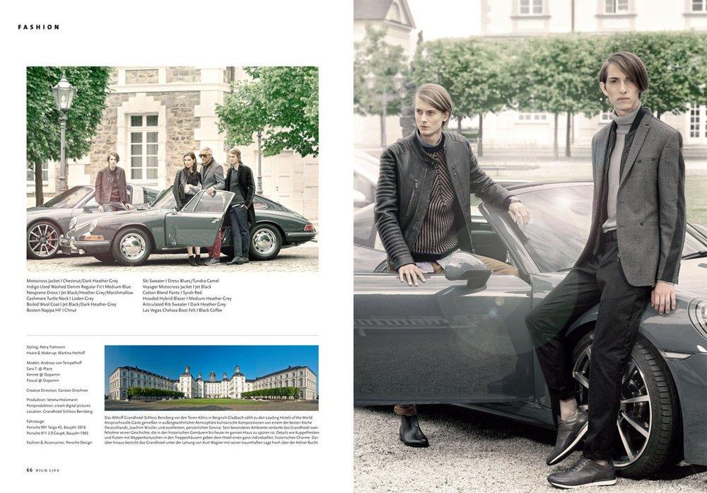 "Kennet & Pascal by Claudius Holzmann ""Porsche Design"" editorial for HIGH LIFE Magazine@Althoff Grandhotel Schloss Bensberg"