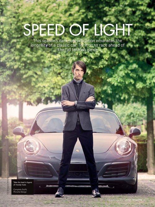 """Pascal by Claudius Holzmann """"Porsche Design"""" editorial for Dolce Vita Luxury Magazine Canada with Porsche 991 Targa 4S (2016)"""