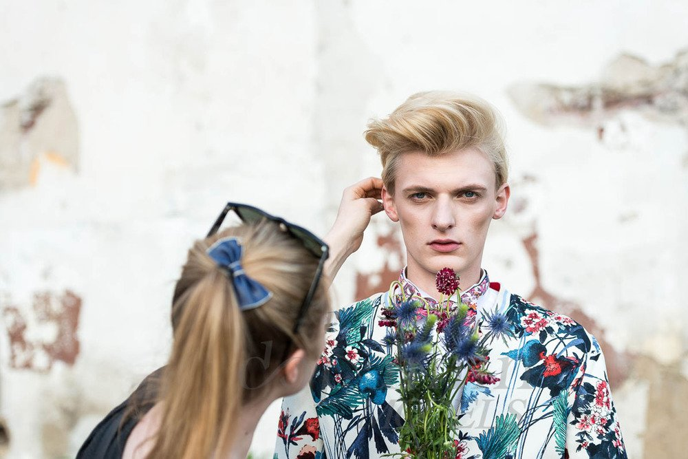 "Flemming @ DOPAMIN MODELS Düsseldorf – making-of Editorial ""FLEURS"" for GUN Magazine Netherlands – Photographer Markus Mielek Dortmund"