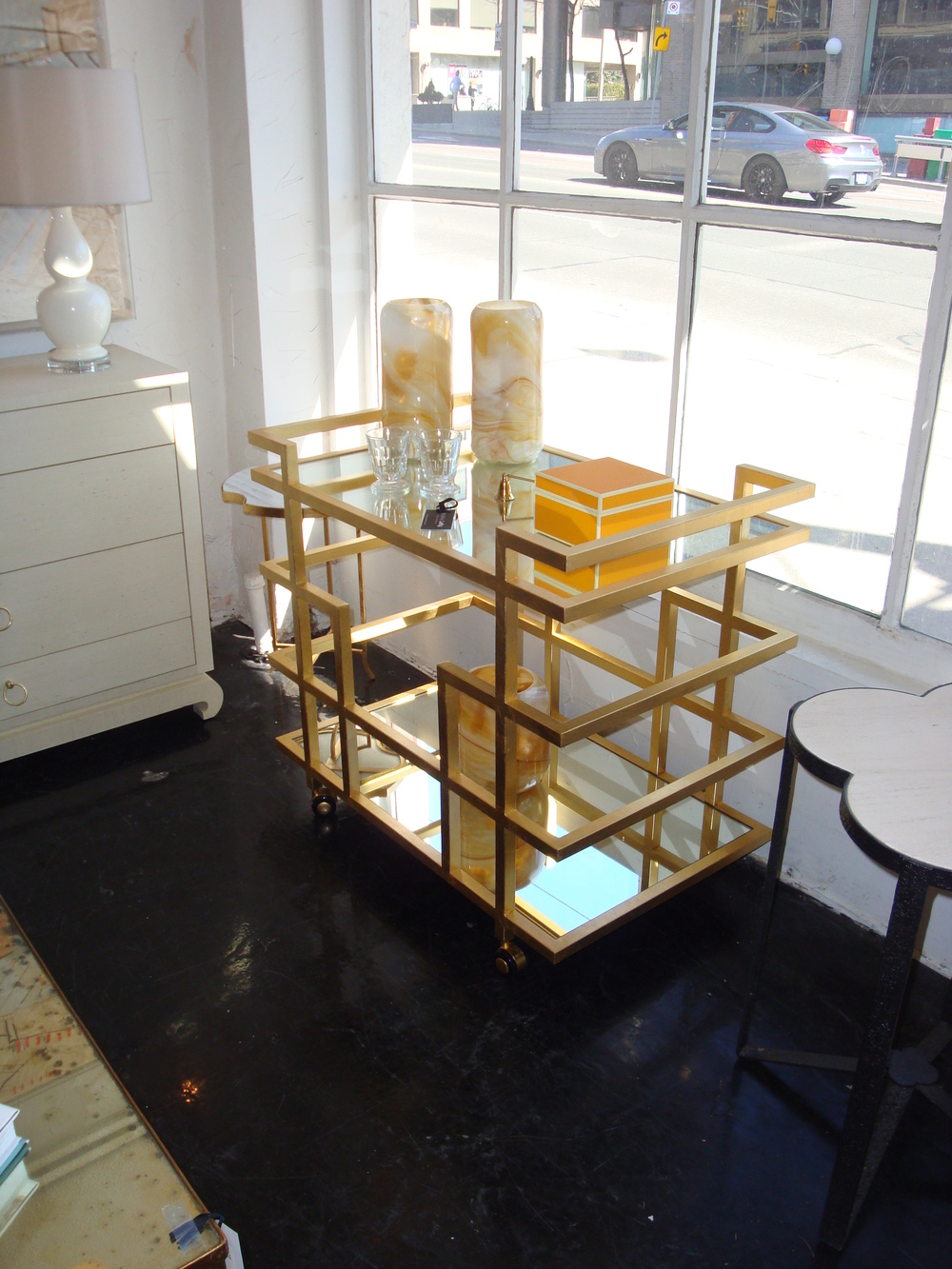Ireland Gold Leaf Bar Cart