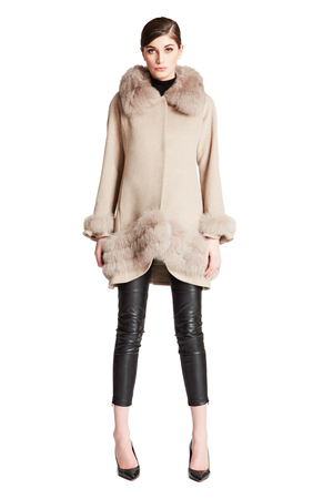 Knee Length CoatBelle Fare -Cashmere Swing Coat with Fur Cuffs & Trim