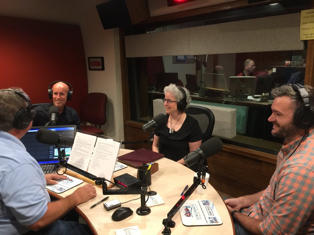 Patrick McGilvray, Marce Epstein, and Aaron Forgue speaking with Mark Heyne about Inbound Marketing Strategy and WordPress on WVXU.