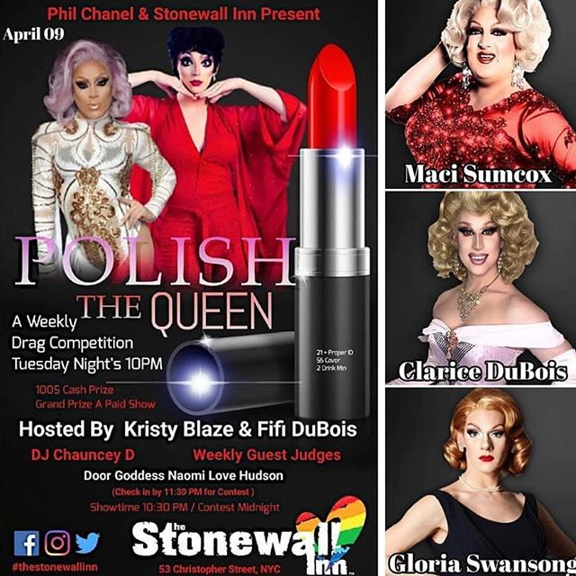 Tonight I'll be judging the talent at Polish The Queen at @stonewallnyc and I can't wait to see what these queens serve up. Maybe sign up yourself and take home that $100 cash money honey! Doors at 10pm. #MaciSumcox #ParodyPrincess #Sumthings #TeaSippingQueen #Sumhunks #LocalQueen #British #Drag #Parody #NYC #London #Fabulous #Diva #Impersonator #Makeup  #BigGurl #FollowMe #Beautiful #Happy #PicOfTheDay #Instadaily #Fun #DragQueensNYC #LGBT #Gay