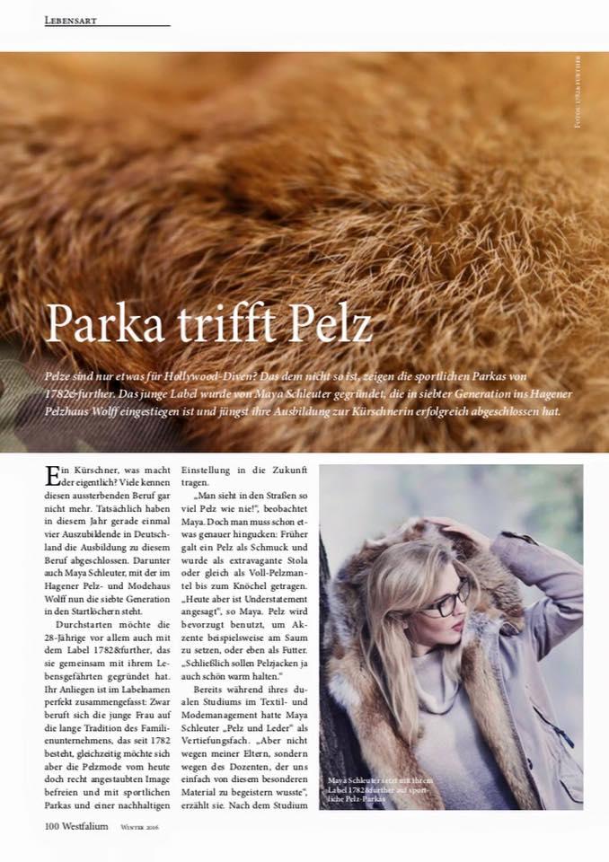 Parka trifft Pelz - Ein Beitrag im Westfalium Nov. 2016