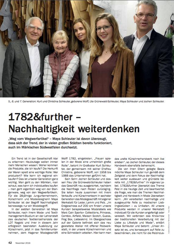 1782&further - Nachhaltigkeit weiterdenken - Ein Bericht im SIHK Magazin, Nov. 2016