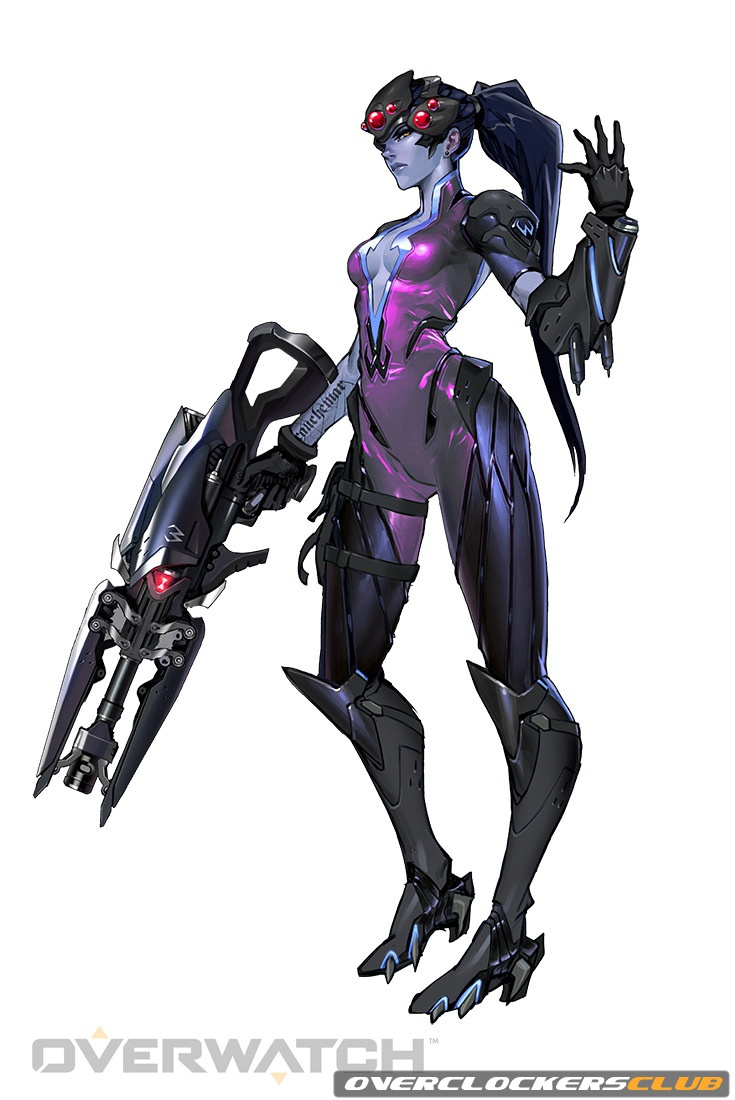 This is Widowmaker, a defensive character who's playstyle utilizes her rifle to take out other characters from a distance.