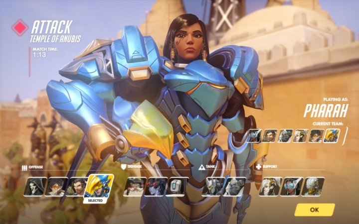 This is Pharah, possibly my favorite. A well armored lady, she attacks with a rocket launcher and has rocket boots to match. Also, her bio says she's from Giza, Egypt and has a history as a security chief for a large company.
