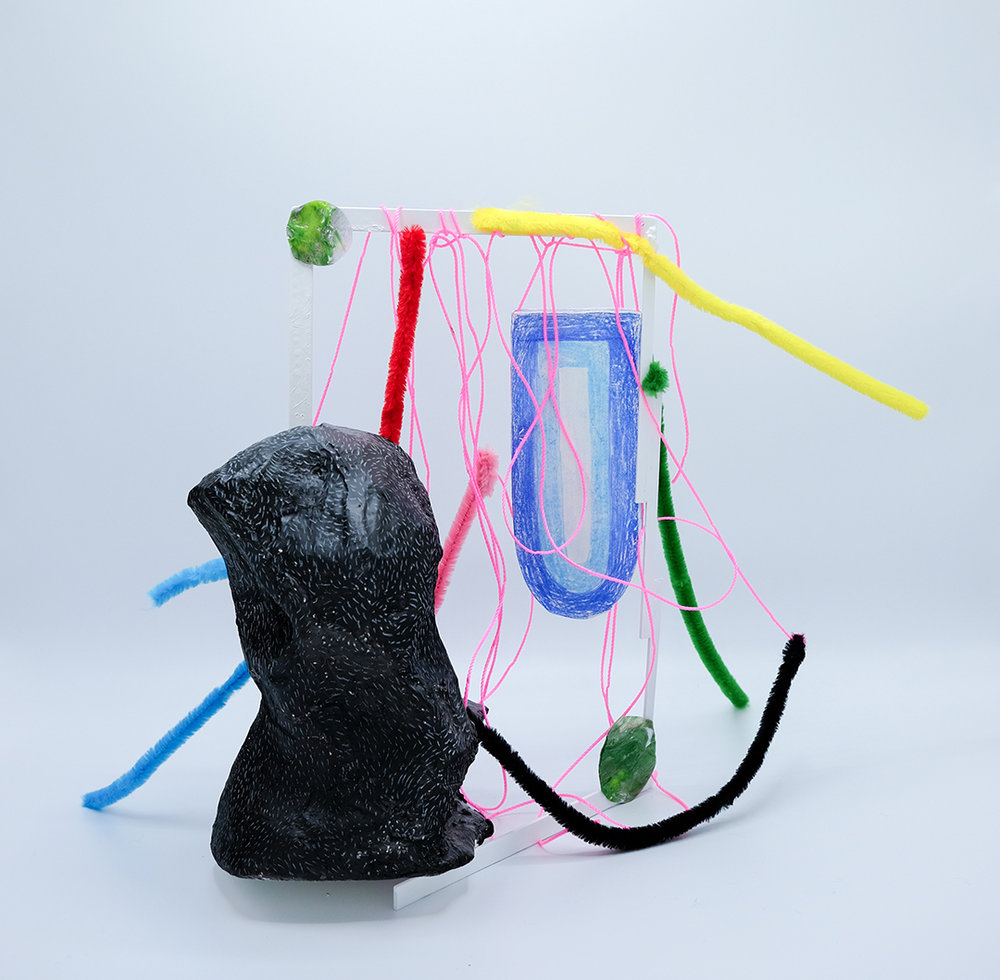 "Pretty Discreet,  plaster, brass, paper clay, acrylic, nylon, pipe cleaner, 16""x14""x6"" 2018"