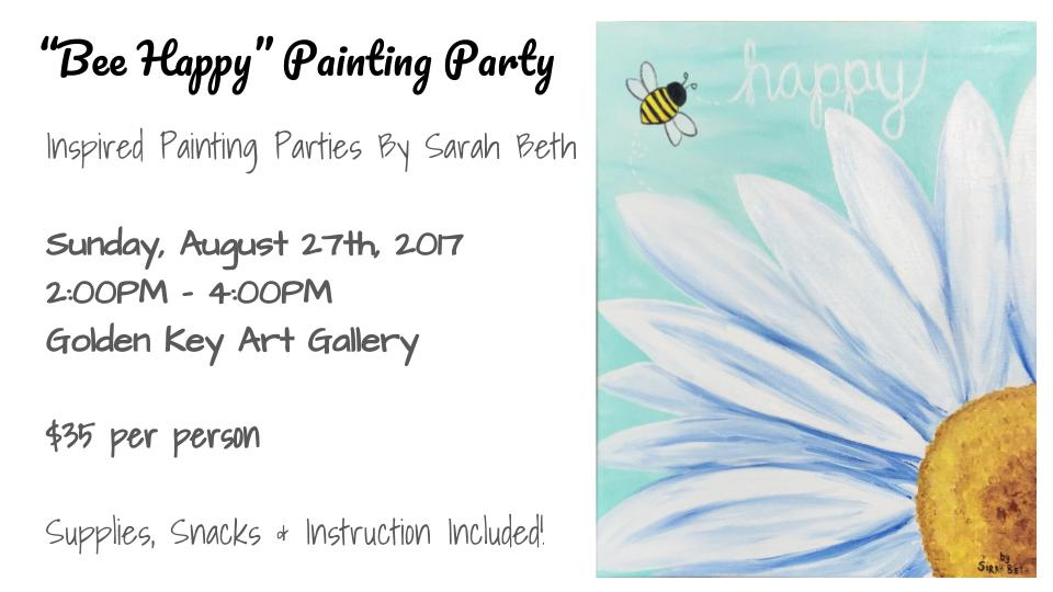 Follow the link below to order tickets! https://www.eventbrite.com/e/bee-happy-painting-party-tickets-36801794157