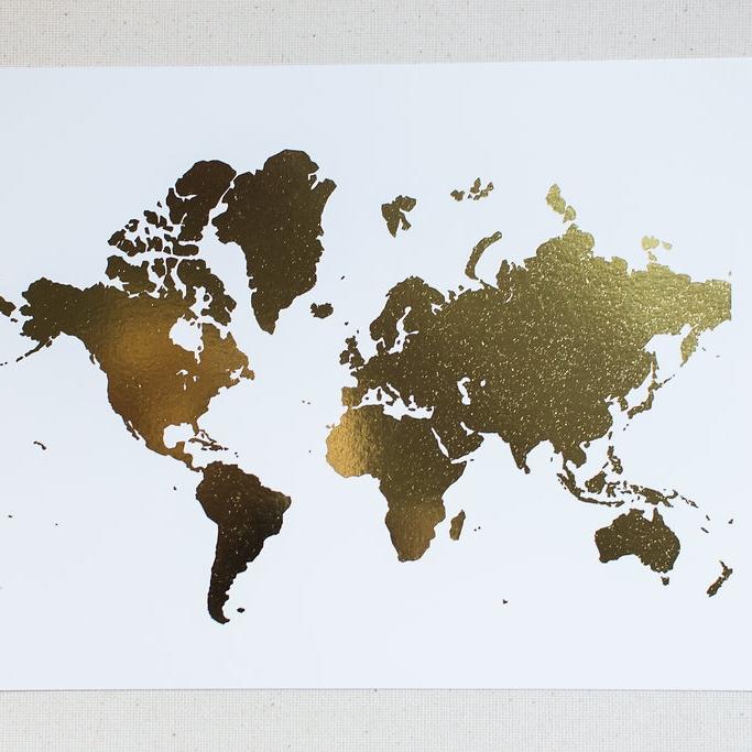 Gold Foil World Map Framed.Gold Foil World Map 8 X 10 Print Staceyholbrook Design