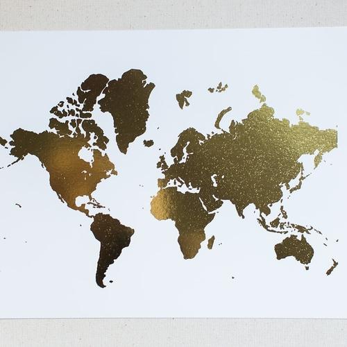 Gold foil world map staceyholbrook design gold foil world map gumiabroncs Images