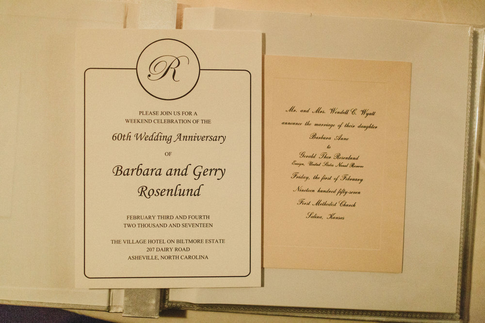 MorMor and FarFar's wedding invitation beside the invitation I designed for their 60th Wedding Anniversary weekend.