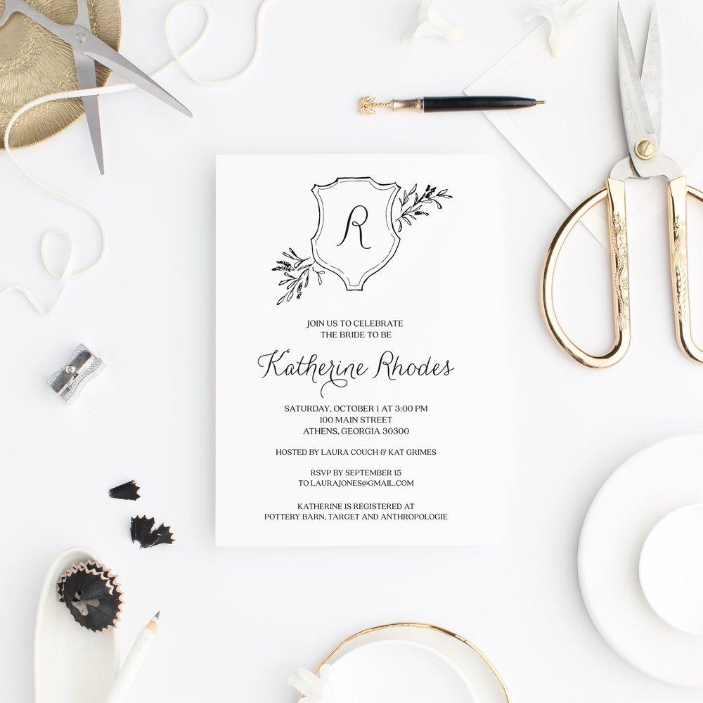 royal crest semi custom wedding shower invitation