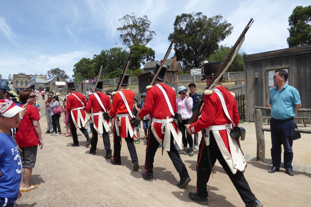 Red Coat Soldiers parade & musket firing