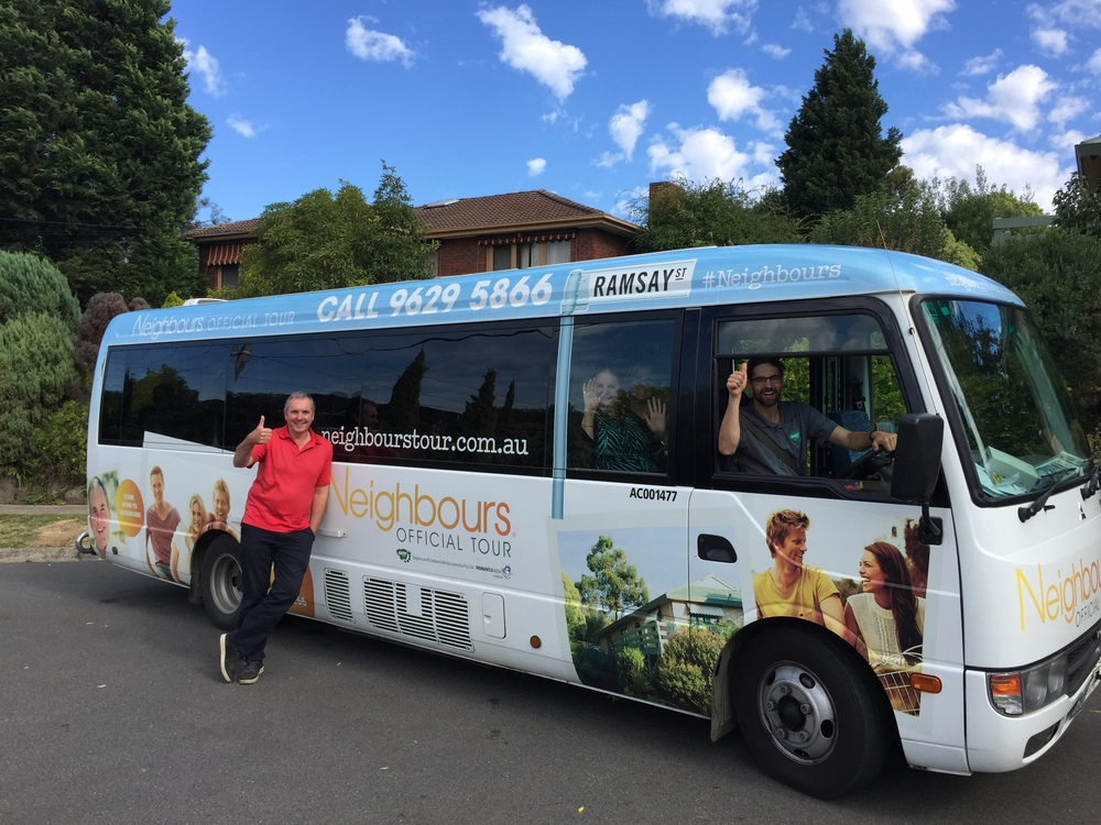 Neighbours TV Star on Bunyip Tours Bus