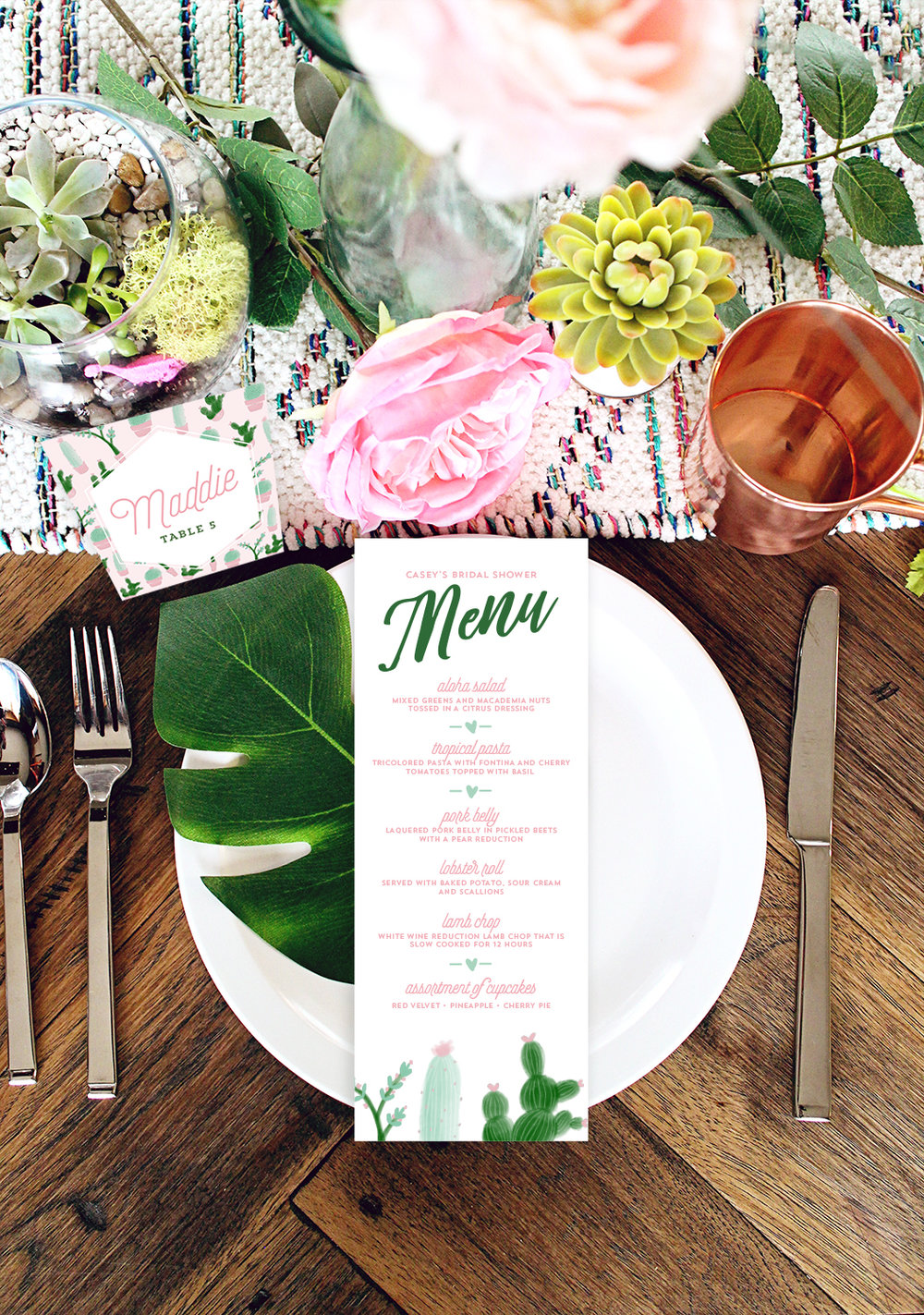 Tropical Cactus Menus for Your Wedding, Bridal Shower or Party